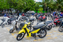 Motorbikes parking area at Male. Royalty Free Stock Image
