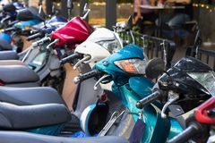 Motorbikes parking on Hanoi street, Vietnam.  Royalty Free Stock Photo