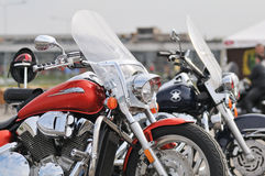 Motorbikes in a parking Royalty Free Stock Photos