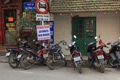 Motorbikes for rent on Sapa street Stock Photos