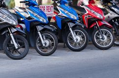 Motorbikes for rent in Thailand Stock Photography