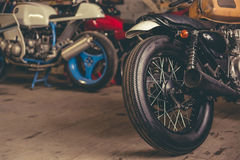 Motorbikes in the repair shop Royalty Free Stock Photo