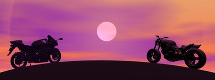 Motorbikes shadow by night. Two different motorbikes shadow on a hill by night with big moon Royalty Free Stock Image