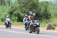 Motorbikes travelling through city streets at Yearly Mass Ride Royalty Free Stock Photography