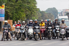 Motorbikes waiting traffic light Royalty Free Stock Image