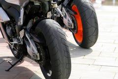 Motorbikes wheels. Sport motorbikes wheels close-up royalty free stock photo