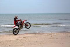 Motorbiking on one wheel Royalty Free Stock Images