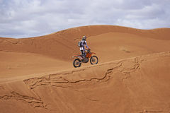 Motorbiking in the Sahara Stock Image