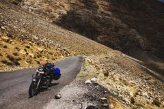 Motorbiking in Spiti Valley. Mountains landscape by Royal Enfield in Spiti Valley stock photography