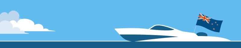 Motorboat με τη σημαία της Νέας Ζηλανδίας Στοκ φωτογραφίες με δικαίωμα ελεύθερης χρήσης