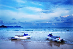 Motorboat. Two motorboats on the beach Royalty Free Stock Photos