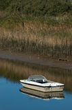 Motorboat. Small motorboat in calm water on a bright day royalty free stock photo