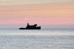 Motorboat. A quiet morning before sunrise Royalty Free Stock Photo