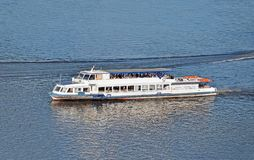 Motorboat. Tourist motorboat on the Dnieper river, Kiev, Ukraine royalty free stock image