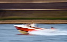 Motorboat. Panning shot of a motorboat Stock Photo
