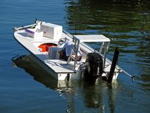 Motorboat. Single man in motor boat in canal Royalty Free Stock Photos