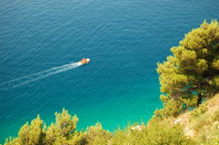 Motorboat on Adriatic in Croatia Royalty Free Stock Photo