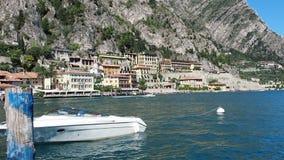 Motorboat anchored Garda lake. Motorboat anchored at Garda lake Italy stock video