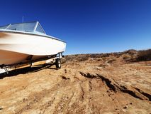 Motorboat in Arizona desert. Royalty Free Stock Photo