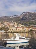 Motorboat at Bakar in Croatia. Bakar fishing village in Croatia on the north Dalmatian coast stock image