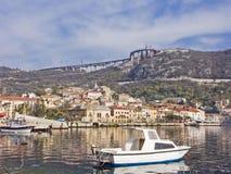 Motorboat at Bakar in Croatia. Bakar fishing village in Croatia on the north Dalmatian coast stock photo