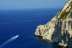 Motorboat in bay at Zakynthos island Royalty Free Stock Images