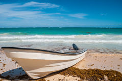 Motorboat on the beach. Of the Atlantic coast Royalty Free Stock Image