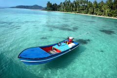 Motorboat, beautiful seascape with tropical beach and turquoise water Stock Images