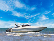 Motorboat at beauty beach Stock Image
