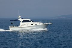 Motorboat. Boat on the sea water stock photo