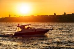 Motorboat on Bosphorus Stock Photo