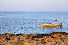 Motorboat on calm sea water Stock Image