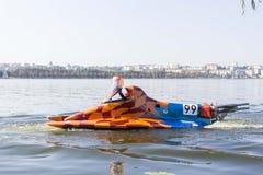 Motorboat car F500 at UIM Hydro GP. Ternopil, Ukraine - 25-26 August 2018: UIM World Championship 2018 Ternopil Hydro GP. Water motor sport. Formula-1 on the stock photo