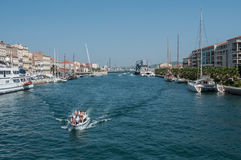 Motorboat in the channel in Sete. Sete - France - 18 August 2017 - motorboat in the channel in Sete royalty free stock photo