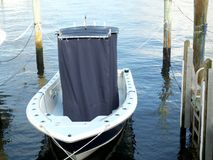 Motorboat Console Cover. A motorboat cover for the center console to protect the instruments from the sun exposure when the boat isn`t being used.  It`s much Royalty Free Stock Images