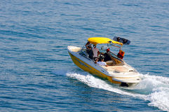 Motorboat with crew on the route at Mediterranean sea Stock Photography