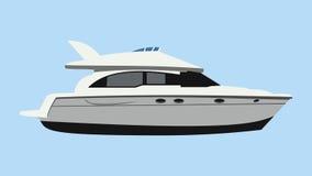 Motorboat. Cruising motor yacht on blue background Stock Photography
