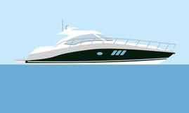 Motorboat. Cruising motor yacht on blue background Royalty Free Stock Image