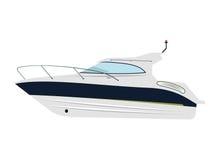 Motorboat. Cruising motor yacht on white background Stock Images