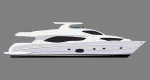 Motorboat. Cruising motor yacht on white background Stock Photography