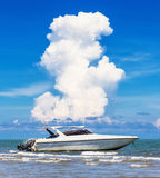 Motorboat on daylight. At beauty sea royalty free stock photos