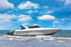 Motorboat on daylight summer season. Motorboat on daylight for travel in Thailand Asia stock image