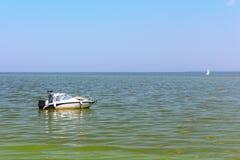 Motorboat on the Dnieper river, Kiev stock image
