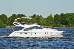 Motorboat on the Dnieper river Royalty Free Stock Photos
