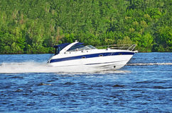 Motorboat on the Dnieper river Royalty Free Stock Image