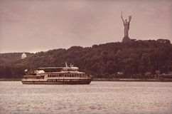 Motorboat on the Dnieper stock photos