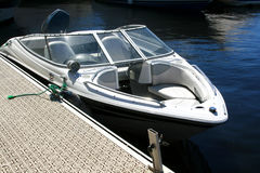 Motorboat on the dock. Motor yacht. Motorboat on the dock royalty free stock photography