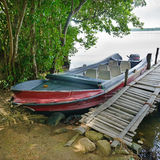 Motorboat at the dock Royalty Free Stock Photos