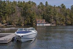 Motorboat docked on a lake. Motorboat docked on Lake Rosseau, Ontario, Canada royalty free stock photo