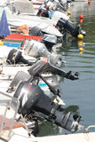 Motorboat engines. In the Kerkyra harbour. The Greek island of Corfu Royalty Free Stock Images